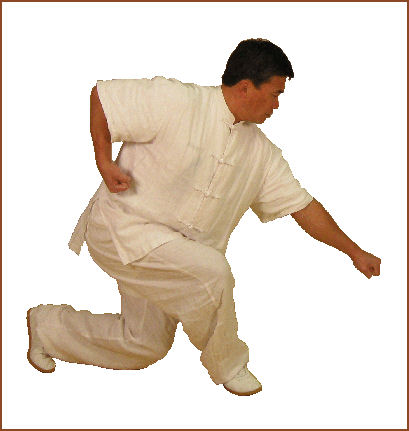 Master Xing in a Xie Bu stance